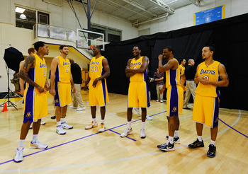 EL SEGUNDO, CA - SEPTEMBER 25:  (L-R) New Los Angeles Lakers, Matt Barnes #9, Russell Hicks #11, Theo Ratliff #50, Devin Ebanks #3 Trey Johnson #1 and Anthony Roberson #0 of the Los Angeles Lakers laugh during Media Day at the Toyota Center on September 2