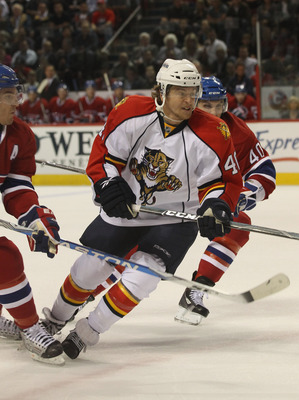 MONTREAL, QC - SEPTEMBER 27:  Michael Grabner #40 of the Florida Panthers skates against the Montreal Canadiens at the Bell Centre on September 27, 2010 in Montreal, Canada.  (Photo by Bruce Bennett/Getty Images)