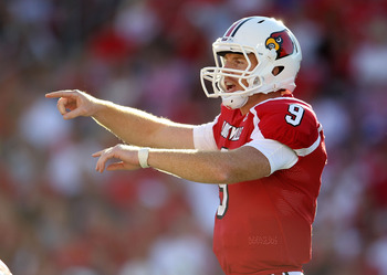 LOUISVILLE, KY - SEPTEMBER 04:  Adam Froman #9 of the Louisville Cardinals gives instructions to his team during the game against the  Kentucky Wildcats at Papa John's Cardinal Stadium on September 4, 2010 in Louisville, Kentucky.  (Photo by Andy Lyons/Ge