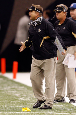 NEW ORLEANS - SEPTEMBER 26:  Head coach Sean Payton of the New Orleans Saints reacts to a call by the officials during the game against the Atlanta Falcons at the Louisiana Superdome on September 26, 2010 in New Orleans, Louisiana.  The Falcons defeated t