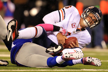 EAST RUTHERFORD, NJ - OCTOBER 03:  Aaron Ross #31 of the New York Giants sacks Jay Cutler #6 of the Chicago Bears at New Meadowlands Stadium on October 3, 2010 in East Rutherford, New Jersey.  (Photo by Chris McGrath/Getty Images)