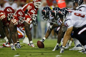AUGUST 15, 2009 - KANSAS CITY, MO:  The Houston Texans offense lines up at the line of scrimmage against the Kansas City Chiefs defense during the preseason game at Arrowhead Stadium on August 15, 2009 in Kansas City, Missouri. (Photo by Dilip Vishwanat/G