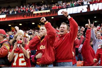KANSAS CITY, MO - NOVEMBER 22: Fans of the Kansas City Chiefs celebrate after the game against the Pittsburgh Steelers at Arrowhead Stadium on November 22, 2009 in Kansas City, Missouri.  The Chiefs defeated the Steelers 27-24.  (Photo by Wesley Hitt/Gett