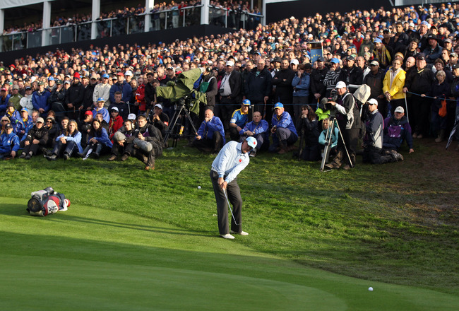 NEWPORT, WALES - OCTOBER 03:  Phil Mickelson of the USA hits a pitch shot during the Fourball & Foursome Matches during the 2010 Ryder Cup at the Celtic Manor Resort on October 3, 2010 in Newport, Wales.  (Photo by David Cannon/Getty Images)