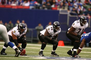 EAST RUTHERFORD, NJ - NOVEMBER 16:  Jason Brown #60, Ben Grubbs #66, and Jared Gaither #71 of the Baltimore Ravens in action against The New York Giants during their game on November 16, 2008 at Giants Stadium in East Rutherford, New Jersey.  (Photo by Al