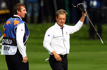 NEWPORT, WALES - OCTOBER 03:  Luke Donald (R) of Europe celebrates winning his match on the 13th green during the  Fourball & Foursome Matches during the 2010 Ryder Cup at the Celtic Manor Resort on October 3, 2010 in Newport, Wales.  (Photo by Richard He