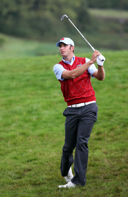 NEWPORT, WALES - OCTOBER 03:  Dustin Johnson of the USA hits a shot during the Fourball & Foursome Matches during the 2010 Ryder Cup at the Celtic Manor Resort on October 3, 2010 in Newport, Wales.  (Photo by Jamie Squire/Getty Images)