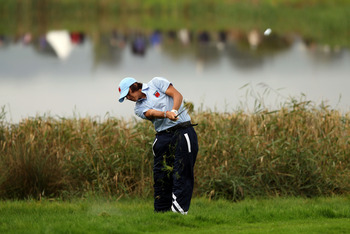 NEWPORT, WALES - OCTOBER 03:  Rickie Fowler of the USA hits from the rough during the Fourball &amp; Foursome Matches during the 2010 Ryder Cup at the Celtic Manor Resort on October 3, 2010 in Newport, Wales.  (Photo by Ross Kinnaird/Getty Images)