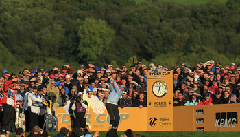NEWPORT, WALES - OCTOBER 03:  Phil Mickelson of the USA tees off on the 17th hole during the  Fourball &amp; Foursome Matches during the 2010 Ryder Cup at the Celtic Manor Resort on October 3, 2010 in Newport, Wales.  (Photo by David Cannon/Getty Images)
