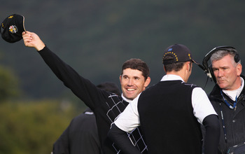 NEWPORT, WALES - OCTOBER 03:  Padraig Harrington of Europe celebrates winning his match on the 17th green during the Fourball & Foursome Matches during the 2010 Ryder Cup at the Celtic Manor Resort on October 3, 2010 in Newport, Wales.  (Photo by Jamie Sq