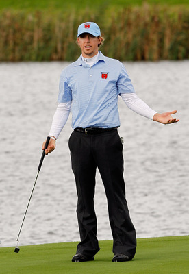 NEWPORT, WALES - OCTOBER 03:  Hunter Mahan of the USA reacts to a putt during the  Fourball &amp; Foursome Matches during the 2010 Ryder Cup at the Celtic Manor Resort on October 3, 2010 in Newport, Wales.  (Photo by Sam Greenwood/Getty Images)