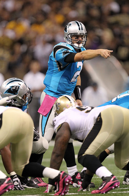 NEW ORLEANS - OCTOBER 03:  Quarterback Jimmy Clausen #2 of the Carolina Panthers during play against the New Orleans Saints at the Louisiana Superdome on October 3, 2010 in New Orleans, Louisiana.  (Photo by Ronald Martinez/Getty Images)