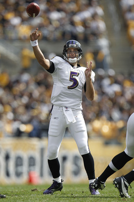 PITTSBURGH - OCTOBER 03:  Joe Flacco #5 of the Baltimore Ravens throws a pass while playing the Pittsburgh Steelers on October 3, 2010 at Heinz Field in Pittsburgh, Pennsylvania. Baltimore won the game 17-14.  (Photo by Gregory Shamus/Getty Images)