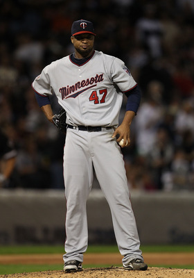 CHICAGO - SEPTEMBER 14: Starting pitcher Francisco Liriano #47 of the Minnesota Twins reacts after giving up a run to the Chicago White Sox at U.S. Cellular Field on September 14, 2010 in Chicago, Illinois. (Photo by Jonathan Daniel/Getty Images)