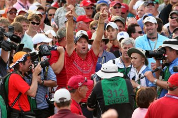 LOUISVILLE, KY - SEPTEMBER 21:  Captain Paul Azinger of the USA team celebrates in front of the media in honor of the USA 16 1/2 - 11 1/2 victory on the final day of the 2008 Ryder Cup at Valhalla Golf Club on September 21, 2008 in Louisville, Kentucky.