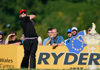 NEWPORT, WALES - OCTOBER 04:  Hunter Mahan of the USA tees off in the singles matches during the 2010 Ryder Cup at the Celtic Manor Resort on October 4, 2010 in Newport, Wales.  (Photo by Tom Dulat/Getty Images)