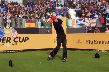 NEWPORT, WALES - OCTOBER 04:  Dustin Johnson of the USA tees off on the 1st hole in the singles matches during the 2010 Ryder Cup at the Celtic Manor Resort on October 4, 2010 in Newport, Wales. (Photo by David Cannon/Getty Images)