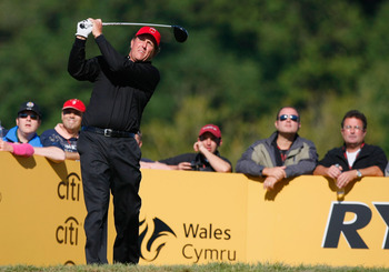 NEWPORT, WALES - OCTOBER 04:  Phil Mickelson of the USA tees off in the singles matches during the 2010 Ryder Cup at the Celtic Manor Resort on October 4, 2010 in Newport, Wales.  (Photo by Tom Dulat/Getty Images)