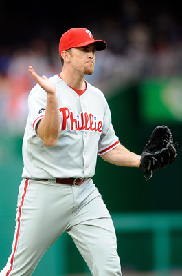 WASHINGTON - AUGUST 01:  Brad Lidge #54 of the Philadelphia Phillies celebrates after a 6-4 victory against the Washington Nationals at Nationals Park on August 1, 2010 in Washington, DC.  (Photo by Greg Fiume/Getty Images)