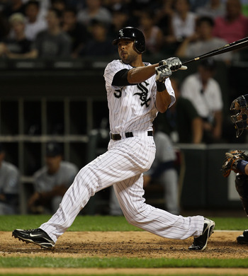 CHICAGO - JULY 26: Alex Rios #51 of the Chicago White Sox takes a swing against the Seattle Mariners at U.S. Cellular Field on July 26, 2010 in Chicago, Illinois. The White Sox defeated the Mariners 6-1.  (Photo by Jonathan Daniel/Getty Images)