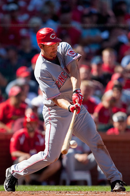 ST. LOUIS - SEPTEMBER 5: Scott Rolen #27 of the Cincinnati Reds bats against the St. Louis Cardinals at Busch Stadium on September 5, 2010 in St. Louis, Missouri.  The Cardinals beat the Reds 4-2.  (Photo by Dilip Vishwanat/Getty Images)