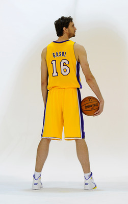 EL SEGUNDO, CA - SEPTEMBER 25:  Pau Gasol #16 of the Los Angeles Lakers poses for a photograph during Media Day at the Toyota Center on September 25, 2010 in El Segundo, California. NOTE TO USER: User expressly acknowledges and agrees that, by downloading