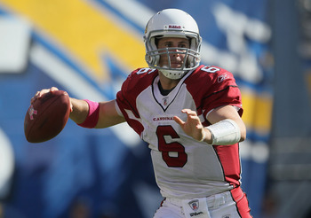 SAN DIEGO - OCTOBER 03:  Quarterback Max Hall #6 of the Arizona Cardinals drops back to pass in the third quarter against the San Diego Chargers at Qualcomm Stadium on October 3, 2010 in San Diego, California. The Chargers defeated the Cardinals 41-10.  (