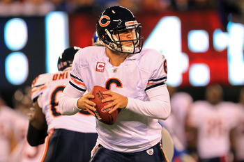 EAST RUTHERFORD, NJ - OCTOBER 03:  Jay Cutler #6 of the Chicago Bears drops back to pass against the New York Giants at New Meadowlands Stadium on October 3, 2010 in East Rutherford, New Jersey.  (Photo by Chris McGrath/Getty Images)