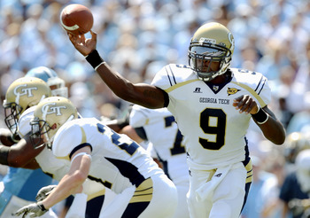 CHAPEL HILL, NC - SEPTEMBER 18:  Joshua Nesbitt #9 of the Georgia Tech Yellow Jackets throws a pass against the North Carolina Tar Heels during their game at Kenan Stadium on September 18, 2010 in Chapel Hill, North Carolina.  (Photo by Streeter Lecka/Get