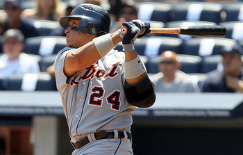 NEW YORK - AUGUST 19:  Miguel Cabrera #24 of the Detroit Tigers follows through on a first inning two run home run against the New York Yankees on August 19, 2010 at Yankee Stadium in the Bronx borough of New York City.  (Photo by Jim McIsaac/Getty Images