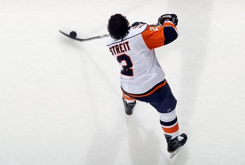 NEWARK, NJ - APRIL 10:  Mark Streit #2 of the New York Islanders warms up before playing against the New Jersey Devils at the Prudential Center on April 10, 2010 in Newark, New Jersey.  (Photo by Jim McIsaac/Getty Images)