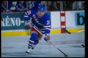 1993-1994:  Steve Larmer of the New York Rangers moves down the ice during a game against the Montreal Canadiens at the Montreal Forum in Montreal, Quebec. Mandatory Credit: Robert Laberge  /Allsport