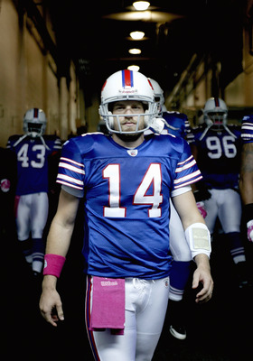 ORCHARD PARK, NY - OCTOBER 03: Ryan Fitzpatrick #14  of the Buffalo Bills walks down the tunnell to the field prior to playing the New York Jets at Ralph Wilson Stadium on October 3, 2010 in Orchard Park, New York. The Jets won 38-14. (Photo by Rick Stewa