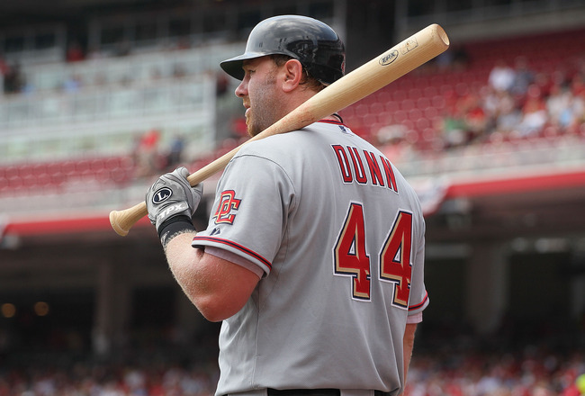 CINCINNATI - JULY 22:  Adam Dunn #44 of the Washington Nationals is pictured during the game against the Cincinnati Reds at Great American Ball Park on July 22, 2010 in Cincinnati, Ohio.  (Photo by Andy Lyons/Getty Images)