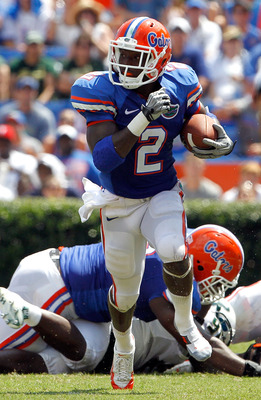 GAINESVILLE, FL - SEPTEMBER 11:  Jeffery Demps #2 of the Florida Gators runs during a game against the South Florida Bulls at Ben Hill Griffin Stadium on September 11, 2010 in Gainesville, Florida.  (Photo by Sam Greenwood/Getty Images)