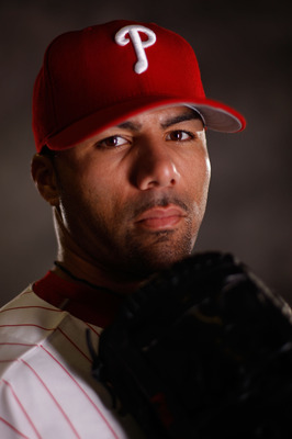 CLEARWATER, FL - FEBRUARY 20:  J.C. Romero 16 of the Philadelphia Phillies poses for a photo during Spring Training Photo day on February 20, 2009 at Bright House Networks Field in Clearwater, Florida.  (Photo by Chris Graythen/Getty Images)
