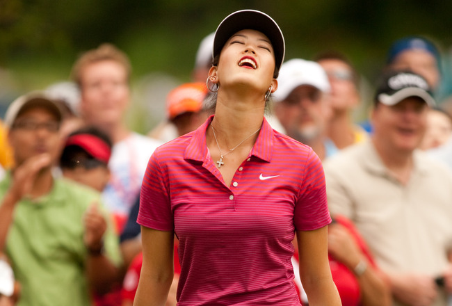 WINNIPEG, CANADA - AUGUST 29: Michelle Wie of the U.S. reacts to a missed putt during the final round of the CN Canadian Women's Open at St. Charles Country Club on August 29, 2010 in Winnipeg, Manitoba, Canada. (Photo by Darren Carroll/Getty Images)
