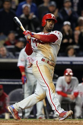 NEW YORK - OCTOBER 29:  Jimmy Rollins #11 of the Philadelphia Phillies bats against the New York Yankees in Game Two of the 2009 MLB World Series at Yankee Stadium on October 29, 2009 in the Bronx borough of New York City. The Yankees won 3-1. (Photo by J