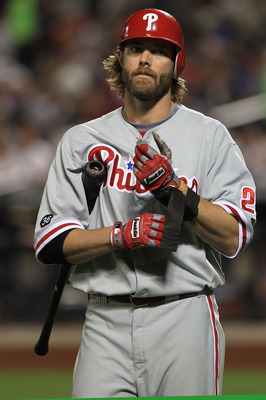 NEW YORK - MAY 25: Jayson Werth #28 of the Philadelphia Phillies walks back to the dugout after striking out against the New York Mets on May 25, 2010 at Citi Field in the Flushing neighborhood of the Queens borough of New York City.  (Photo by Chris McGr