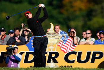 NEWPORT, WALES - OCTOBER 04:  Jim Furyk of the USA tees off in the singles matches during the 2010 Ryder Cup at the Celtic Manor Resort on October 4, 2010 in Newport, Wales. (Photo by Tom Dulat/Getty Images)