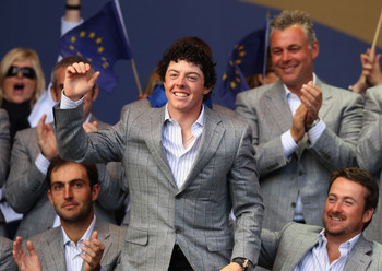 NEWPORT, WALES - OCTOBER 04:  Rory McIlroy of Europe stands at the closing cermonies following Europe's 14.5 to 13.5 victory over the USA at the 2010 Ryder Cup at the Celtic Manor Resort on October 4, 2010 in Newport, Wales.  (Photo by Ross Kinnaird/Getty