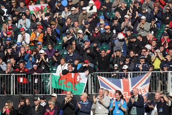 NEWPORT, WALES - OCTOBER 04:  Fans watch the play on the first tee during the singles matches during the 2010 Ryder Cup at the Celtic Manor Resort on October 4, 2010 in Newport, Wales.  (Photo by Ross Kinnaird/Getty Images)