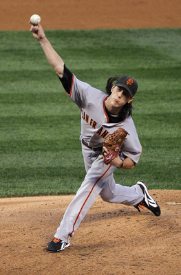 DENVER - SEPTEMBER 24:  Starting pitcher Tim Lincecum #55 of the San Francisco Giants delivers against the Colorado Rockies at Coors Field on September 24, 2010 in Denver, Colorado.  (Photo by Doug Pensinger/Getty Images)