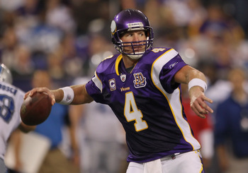 MINNEAPOLIS - SEPTEMBER 26:  Quarterback Brett Favre #4 of the Minnesota Vikings drops back to pass against the Detroit Lions during the second half at Hubert H. Humphrey Metrodome on September 26, 2010 in Minneapolis, Minnesota. The Vikings defeated the