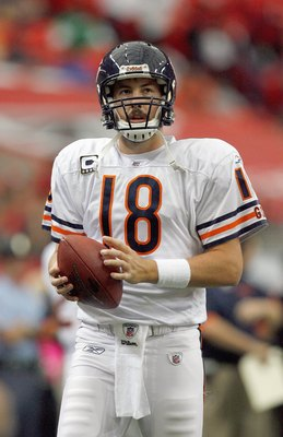 ATLANTA - OCTOBER 12:  Quarterback Kyle Orton #18 of the Chicago Bears warms up before the game against the Atlanta Falcons at the Georgia Dome on October 12, 2008 in Atlanta, Georgia.  (Photo by Kevin C. Cox/Getty Images)