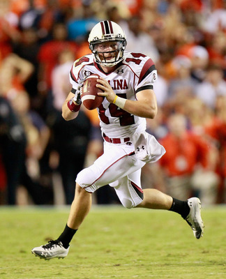 AUBURN, AL - SEPTEMBER 25:  Quarterback Barrett Trotter #14 of the South Carolina Gamecocks against the Auburn Tigers at Jordan-Hare Stadium on September 25, 2010 in Auburn, Alabama.  (Photo by Kevin C. Cox/Getty Images)