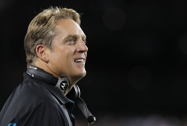 PHILADELPHIA - AUGUST 13:  Head coach of the Jacksonville Jaguars, Jack Del Rio looks on from the sideline against the Philadelphia Eagles during their preseason game at Lincoln Financial Field on August 13, 2010 in Philadelphia, Pennsylvania.  (Photo by