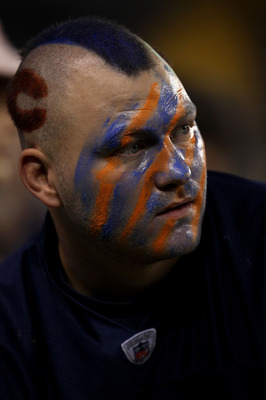 CHICAGO - SEPTEMBER 27:  A fan of the Chicago Bears shows support for his team as he looks on against the Green Bay Packers at Soldier Field on September 27, 2010 in Chicago, Illinois.  (Photo by Jonathan Daniel/Getty Images)