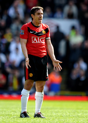 BLACKBURN, ENGLAND - APRIL 11: Gary Neville of Manchester United shows his dissapointment after dropping points in the Barclays Premier League Match between Blackburn Rovers and Manchester United at Ewood Park on April 11, 2010 in Blackburn, England.  (Ph