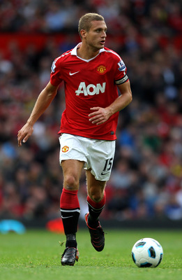MANCHESTER, ENGLAND - AUGUST 28:   Nemanja Vidic of Manchester United in action during the Barclays Premier League match between Manchester United and West Ham United at Old Trafford on August 28, 2010 in Manchester, England. (Photo by Alex Livesey/Getty